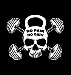 No pain no gain skull in kettlebell form and vector