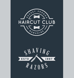 old barbershop emblems and labels vintage male vector image