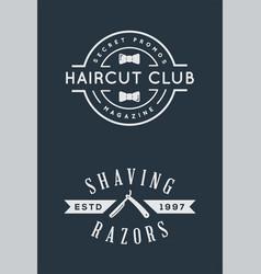 old barbershop emblems and labels vintage male vector image