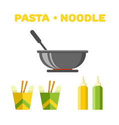 Pasta and noodle set colorful constructor vector