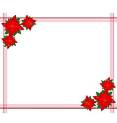 Poinsettia Flowers Forming A Christmas Border vector image