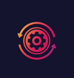 Production cycle icon cogwheel with arrows vector