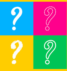 question mark sign four styles of icon on four vector image