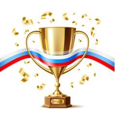 Realistic golden trophy cup russian flag vector