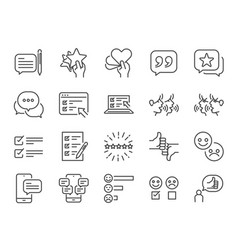 reviews line icon set vector image