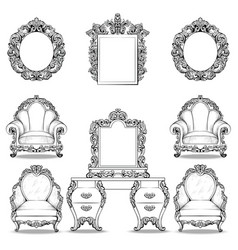 Rich baroque rococo armchair and dressing table vector