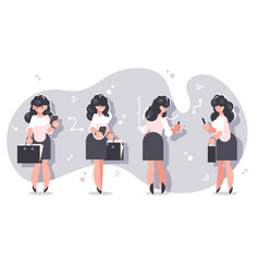 set cartoon businesswomen character design vector image