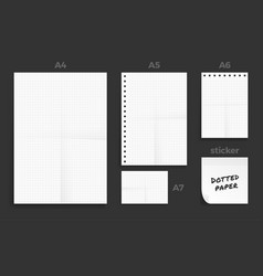 set crumpled four standart dotted blank series vector image
