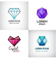 set jewelry logos diamond vector image