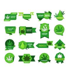 Set marijuana leaf stickers cbd oil label hemp vector