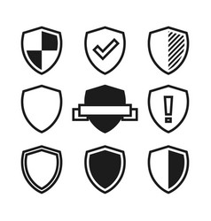 Set of shield icons black and white vector