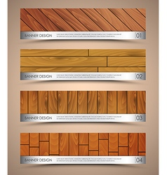 Set of wooden web banners vector