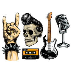 set rock and roll vector image