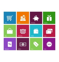 Shopping icons on color background vector