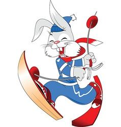Skiing bunny cartoon vector image