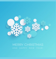 snowflakes and round confetti paper cut vector image