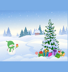 Snowman and christmas landscape vector