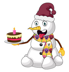 snowman with cake on white background vector image