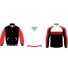 Soft shell jumper varsity jacket and hoodie mock vector