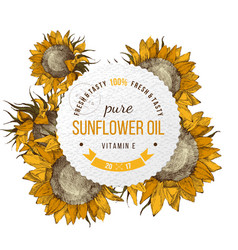 Sunflower oil emblem vector