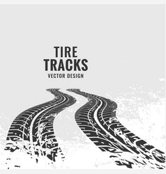Tire tracks mark in perspective vector
