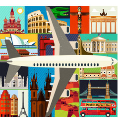 Top-rated tourist attractions with plane vector