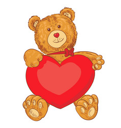 toy teddy bear holding a heart vector image