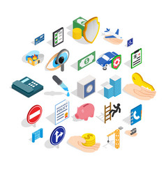 Trouble icons set isometric style vector
