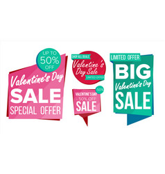 valentine s day sale banner collection vector image