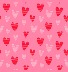 valentines day pink retro heart seamless pattern vector image