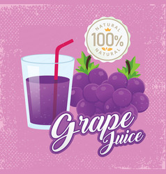 vintage fresh grape juice vector image