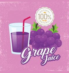 vintage fresh grape juice vector image