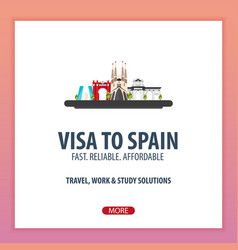 visa to spain document for travel flat vector image