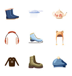 Warm outfits icons set cartoon style vector