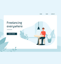 web template with man working on laptop and vector image