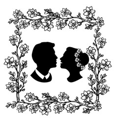 Wedding silhouette with flourishes 5 vector