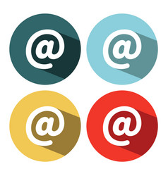 white mail and e-mail icon isolated with long vector image