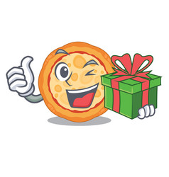 with gift cheese pizza in cartoon shape vector image