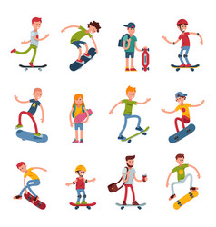 young skateboarder active people sport extreme vector image