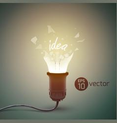 broken light bulb background vector image vector image