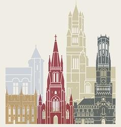 Bruges skyline poster vector image vector image
