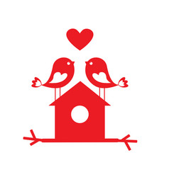 cute birds in love and birdhouse vector image