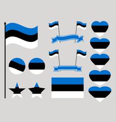 estonia flag set collection of symbols heart vector image vector image