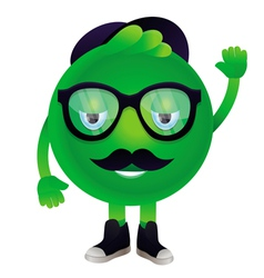 funny monster with mustache and glasses vector image vector image
