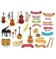 Musical instruments music ribbon emblems vector image