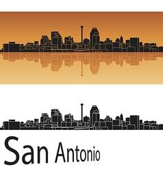 San Antonio skyline in orange background vector image vector image