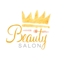 beauty salon delicate golden logo design with vector image vector image