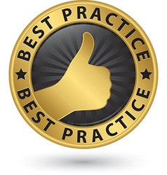 Best practice golden sign with thumb up vector image