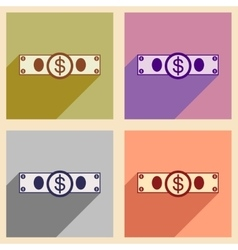 Flat with shadow icon concept stylish dollar bill vector
