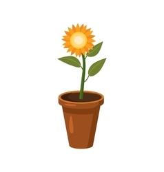 Flower in a pot icon cartoon style vector image